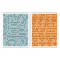 Sizzix Texture Fades Embossing Folders 2PK - Arrows & Boardwalk Set