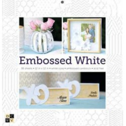White Embossed Stack DCWV 12x12