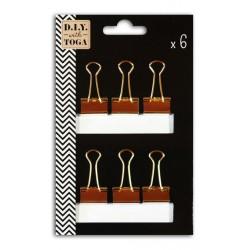 Set de 6 pinzas medianas clips doradas