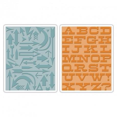 Sizzix Texture Fades Embossing Folders 2PK - Arrows & Boardwalk Set