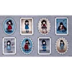 Panel 8 muñecas Gorjuss fondo gris