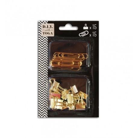 Set clips dorados surtidos