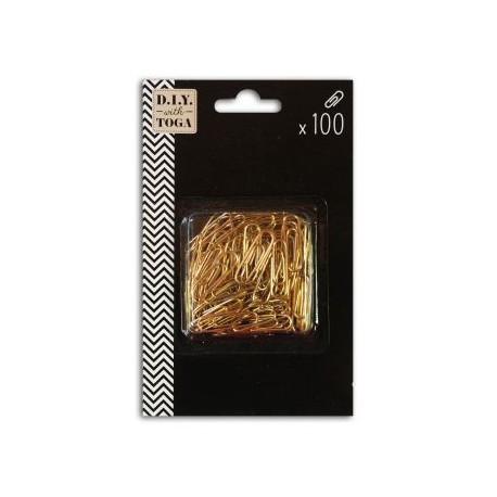 Set de 100 clips dorados