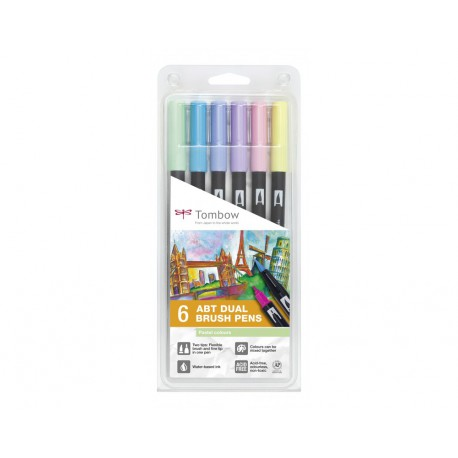 Colores Pastel - Set de 6 rotuladores - Dual Brush Tombow