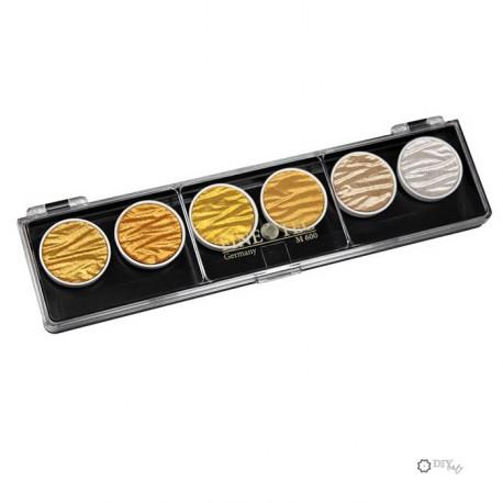 Set de 6 Pigmentos Finetec Oro y plata Colores perlados