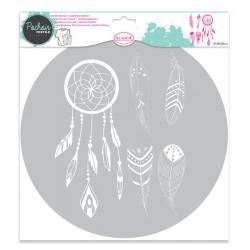 Plumas y Atrapasueños - Plantilla para Textil 28 cm - Aladine
