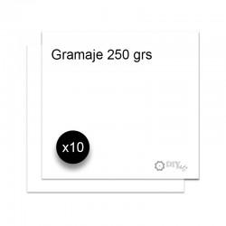 "Cartulina lisa blanca 12""x12"" de 250 gr. - Pack 10 unidades"